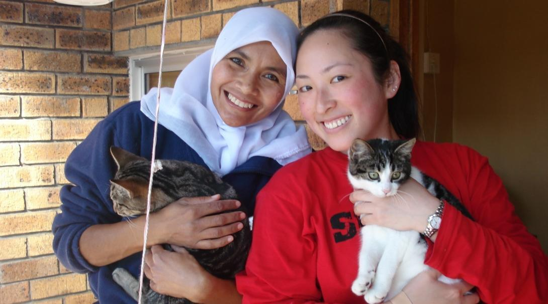 Cats being held and cared for by volunteers who work with animals in South Africa